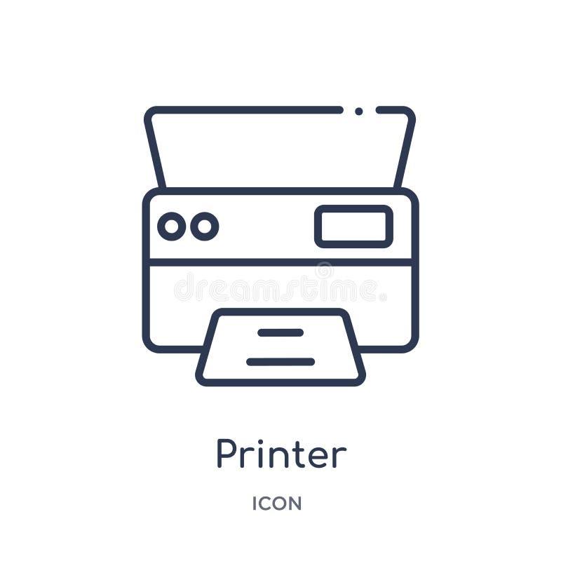 icono de los cuadrados de la impresión de la impresora de la colección del esquema de la interfaz de usuario Línea impresora fina libre illustration