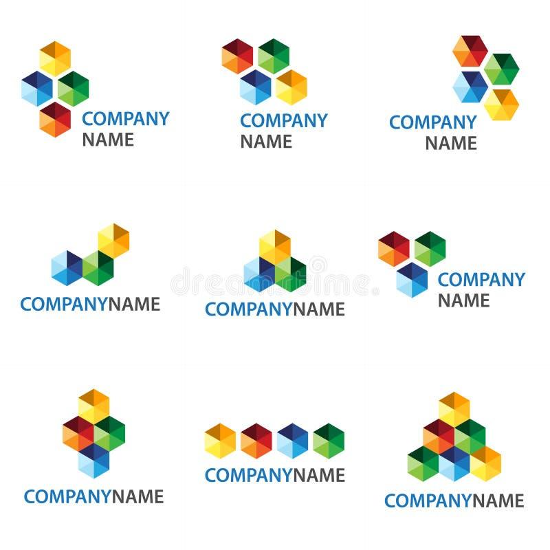 Icono de los cubos y diseño de la insignia stock de ilustración
