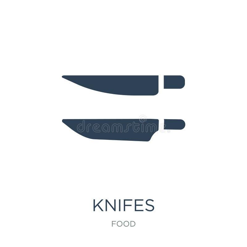icono de los cuchillos en estilo de moda del diseño Icono de los cuchillos aislado en el fondo blanco símbolo plano simple y mode ilustración del vector