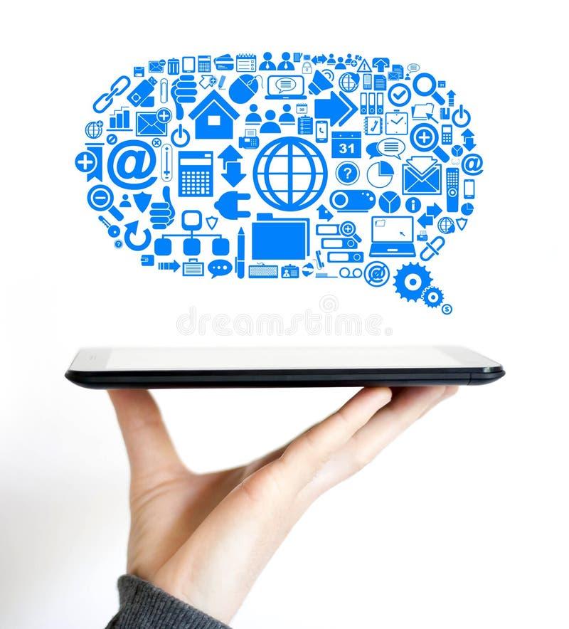 Icono de los datos de Internet de las comunicaciones de la nube del negocio fotografía de archivo libre de regalías