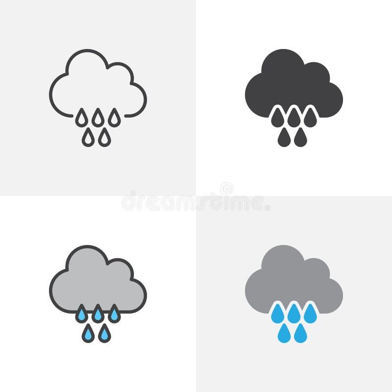 Icono de los descensos de la nube y de la lluvia libre illustration