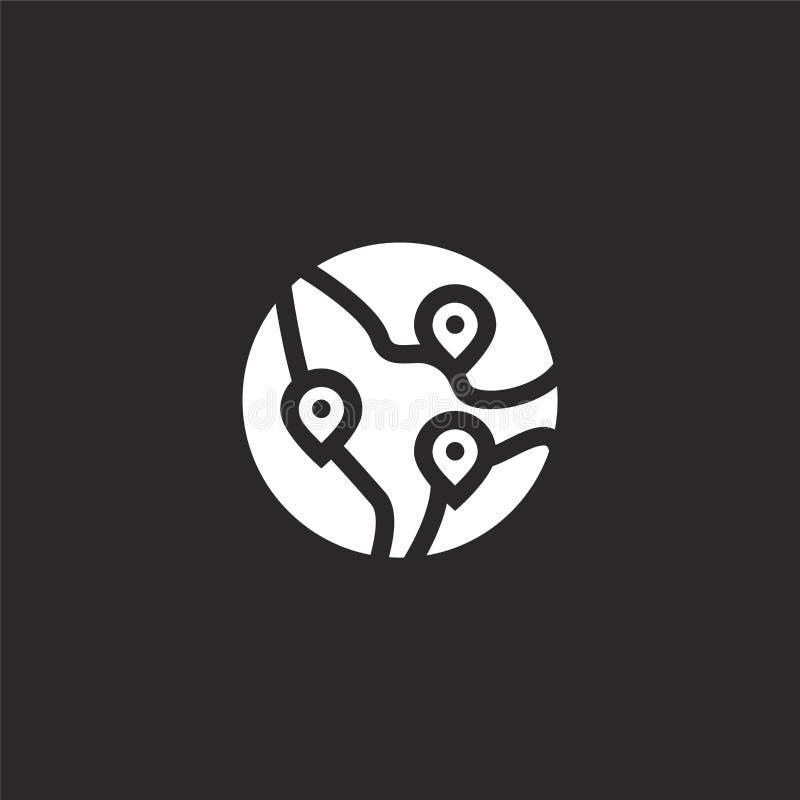icono de los destinos Icono llenado de los destinos para el diseño y el móvil, desarrollo de la página web del app icono de los d ilustración del vector