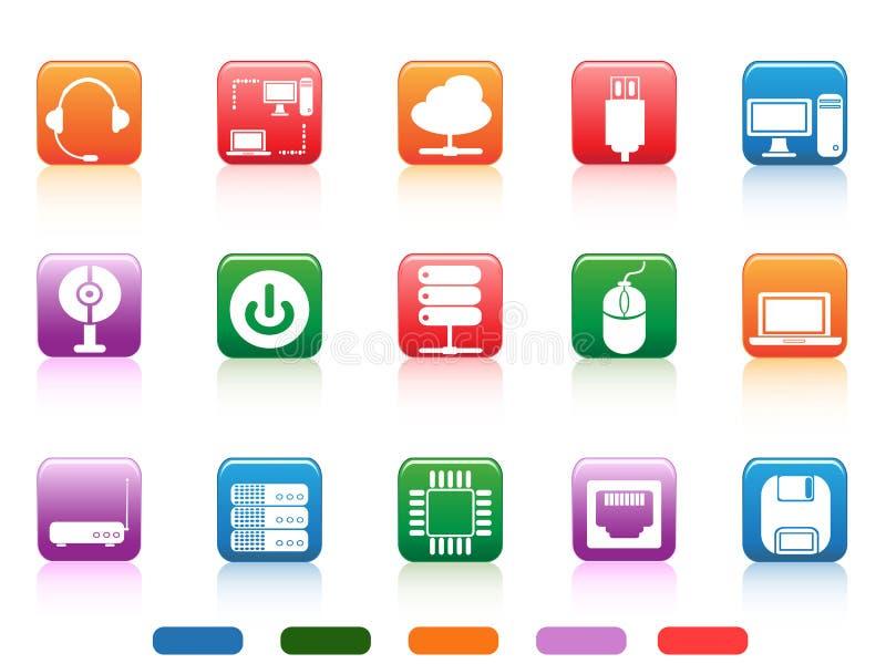 Icono de los dispositivos del ordenador y de los botones de los componentes ilustración del vector
