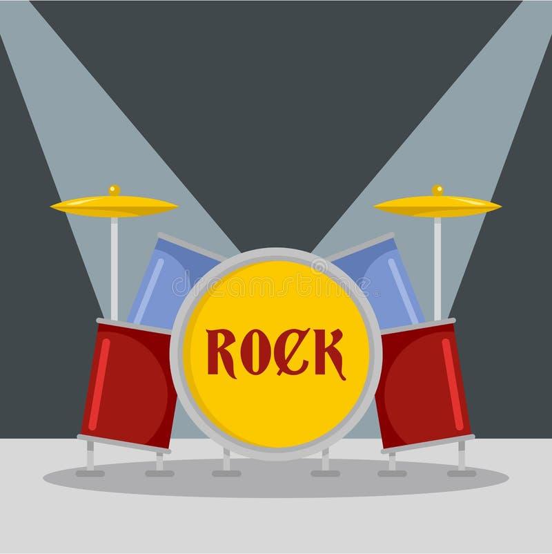 Icono de los drumms de la roca, estilo plano libre illustration