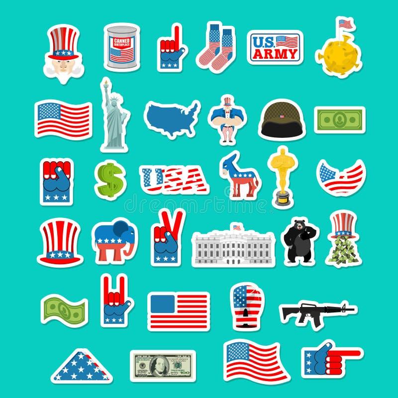 Icono de los E.E.U.U. Muestra nacional de América Bandera americana y estatua de stock de ilustración