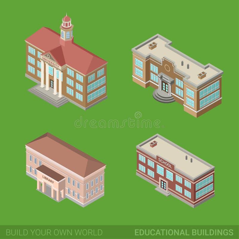Icono de los edificios de la ciudad fijado: escuela, universidad, biblioteca ilustración del vector