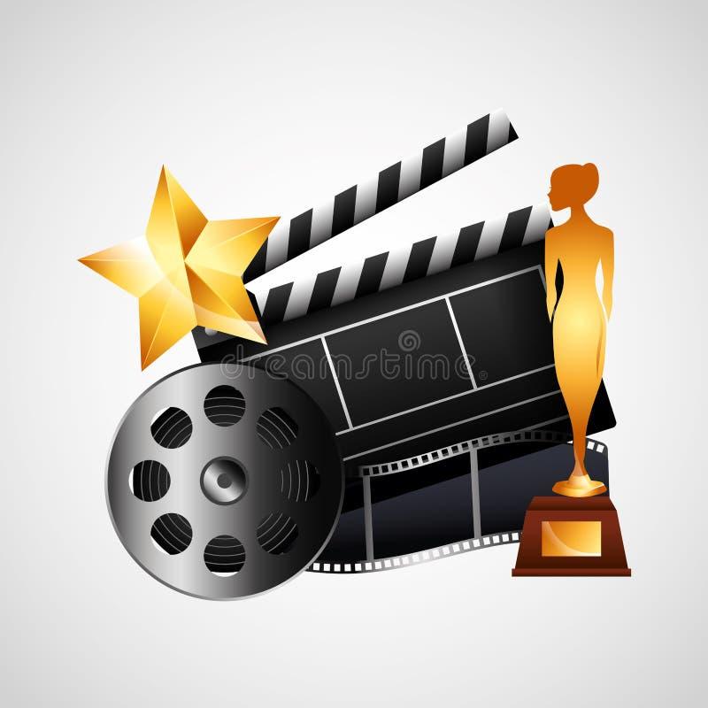 Icono de los elementos del entretenimiento del cine stock de ilustración
