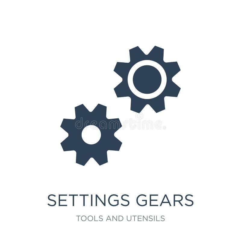 icono de los engranajes de los ajustes en estilo de moda del diseño icono de los engranajes de los ajustes aislado en el fondo bl libre illustration