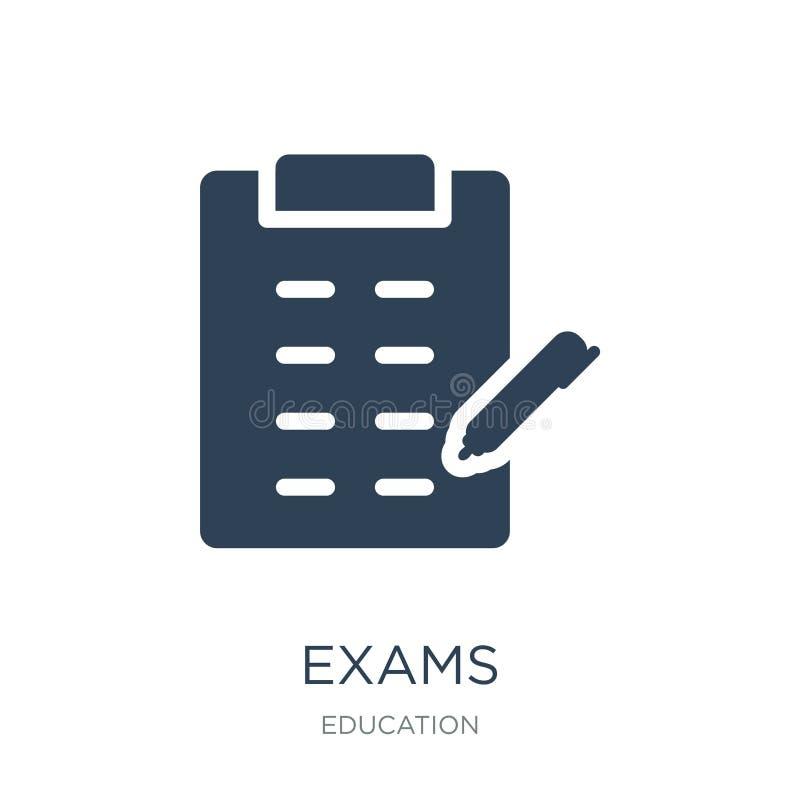 icono de los exámenes en estilo de moda del diseño icono de los exámenes aislado en el fondo blanco símbolo plano simple y modern libre illustration