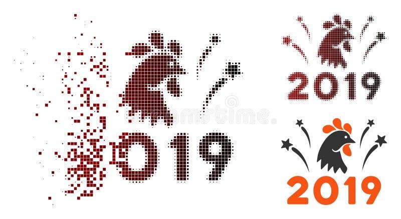 Icono 2019 de los fuegos artificiales del gallo del tono medio del pixel del polvo stock de ilustración