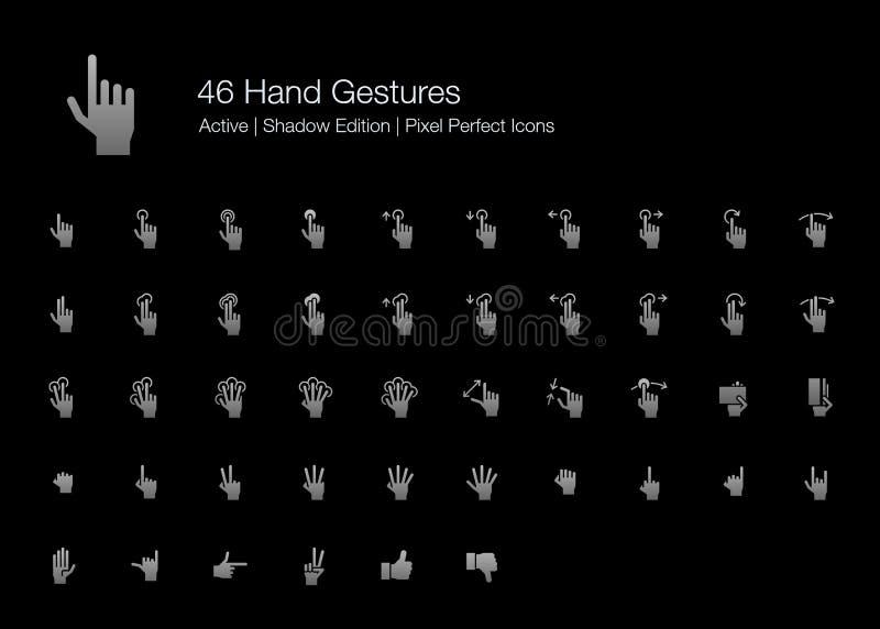 Icono de los gestos del finger y de mano de la pantalla táctil fijado para el fondo negro libre illustration
