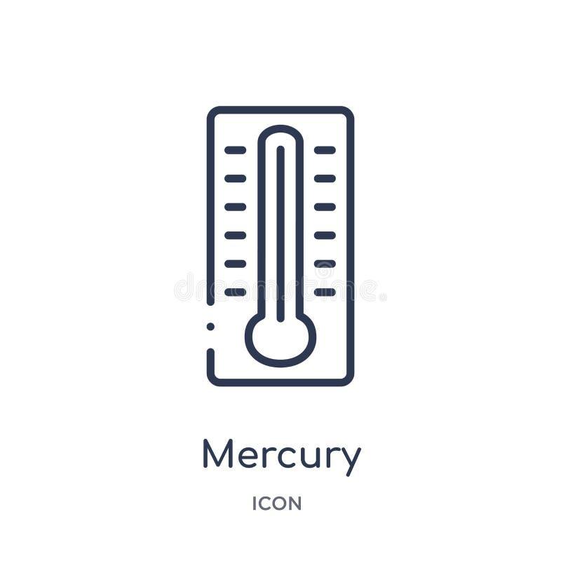 icono de los grados del termómetro de mercurio de la colección del esquema de las herramientas y de los utensilios Línea fina ico libre illustration
