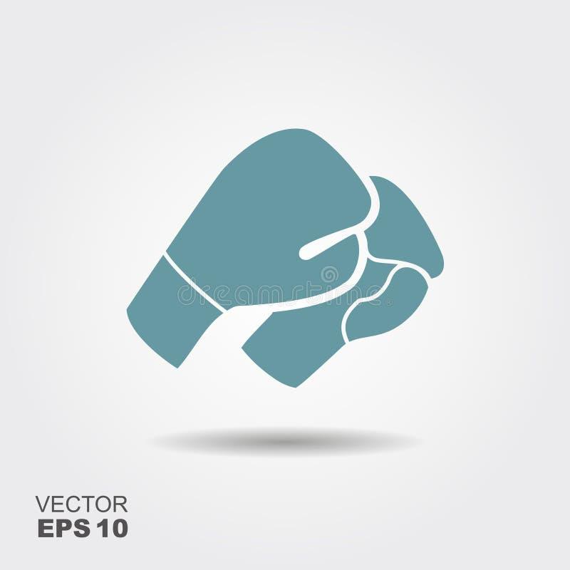 Icono de los guantes de boxeo en estilo plano con la sombra stock de ilustración