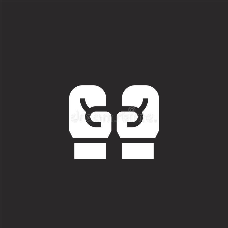 Icono de los guantes de boxeo Icono llenado de los guantes de boxeo para el diseño y el móvil, desarrollo de la página web del ap ilustración del vector