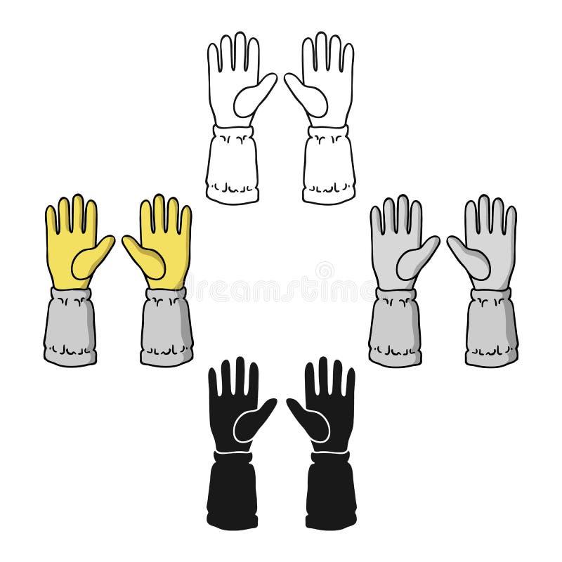 Icono de los guantes del apicultor s en la historieta, estilo negro aislada en el fondo blanco Ejemplo del vector de la acci?n de libre illustration
