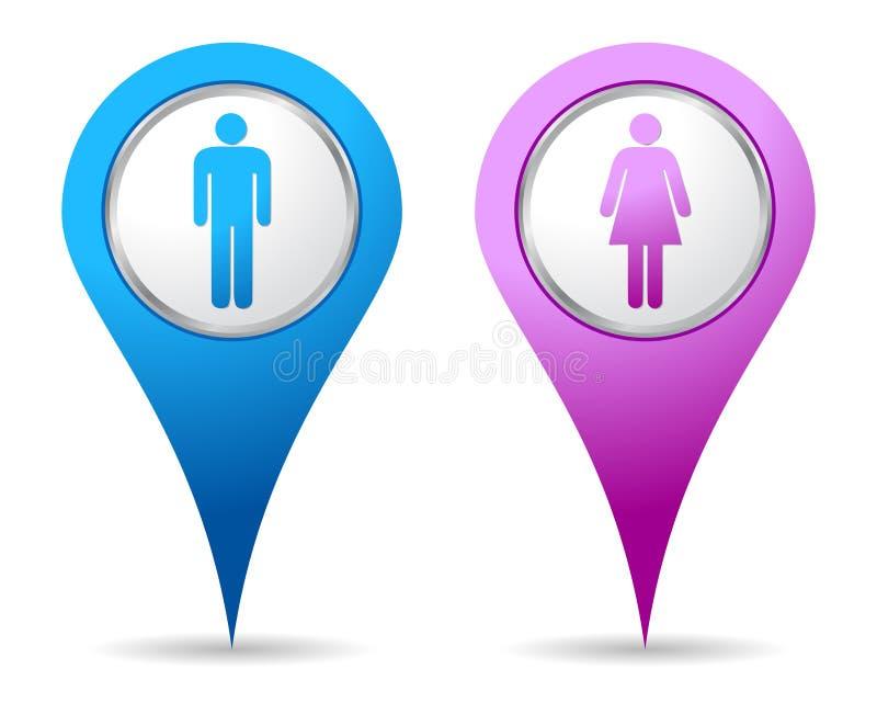 Icono de los hombres de la mujer de la localización ilustración del vector