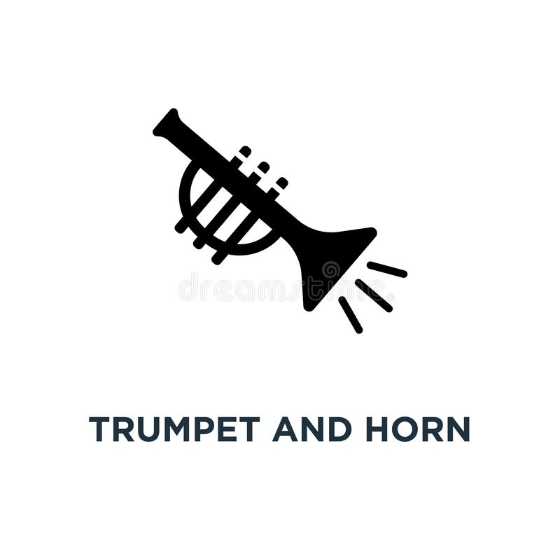 Icono de los instrumentos musicales de la trompeta y del cuerno Illust simple del elemento ilustración del vector