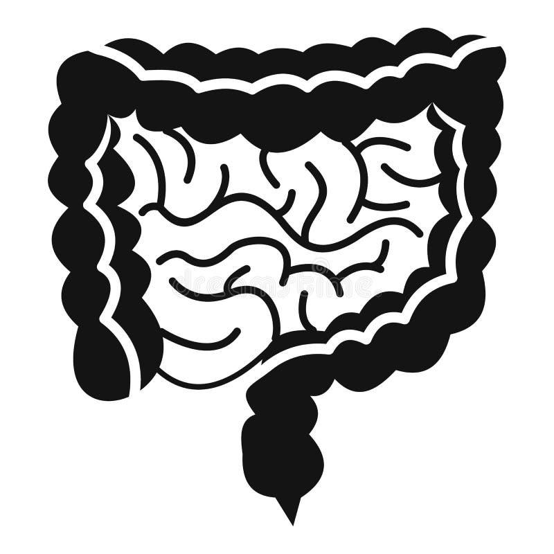 Icono de los intestinos, estilo simple ilustración del vector