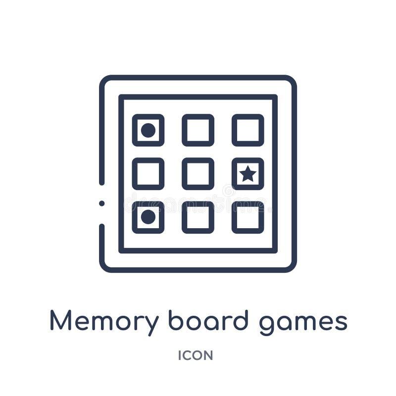 Icono de los juegos de mesa de la memoria linear de la colección del esquema del entretenimiento Línea fina icono de los juegos d stock de ilustración