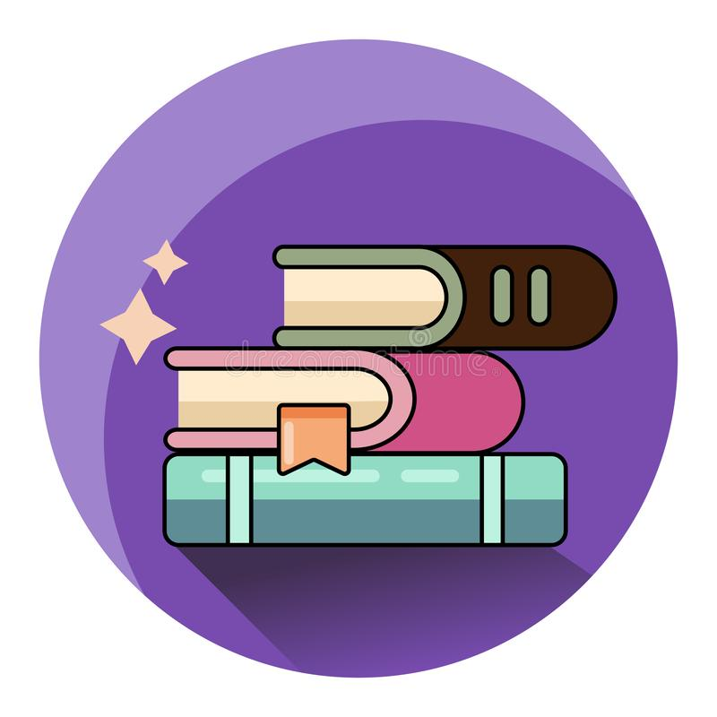 Icono de los libros aislado Diseño plano moderno del estilo stock de ilustración