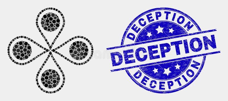 Icono de los marcadores del mapa y sello punteados vector del engaño de la desolación libre illustration