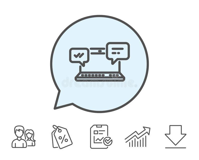 Icono de los mensajes de Internet Charla o conversación stock de ilustración