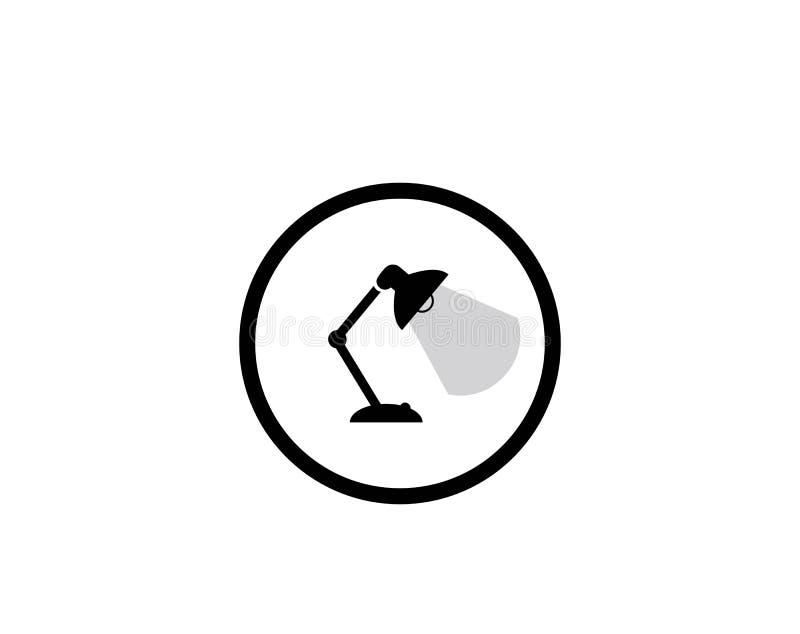 Icono de los muebles del escritorio, símbolo de la lámpara libre illustration
