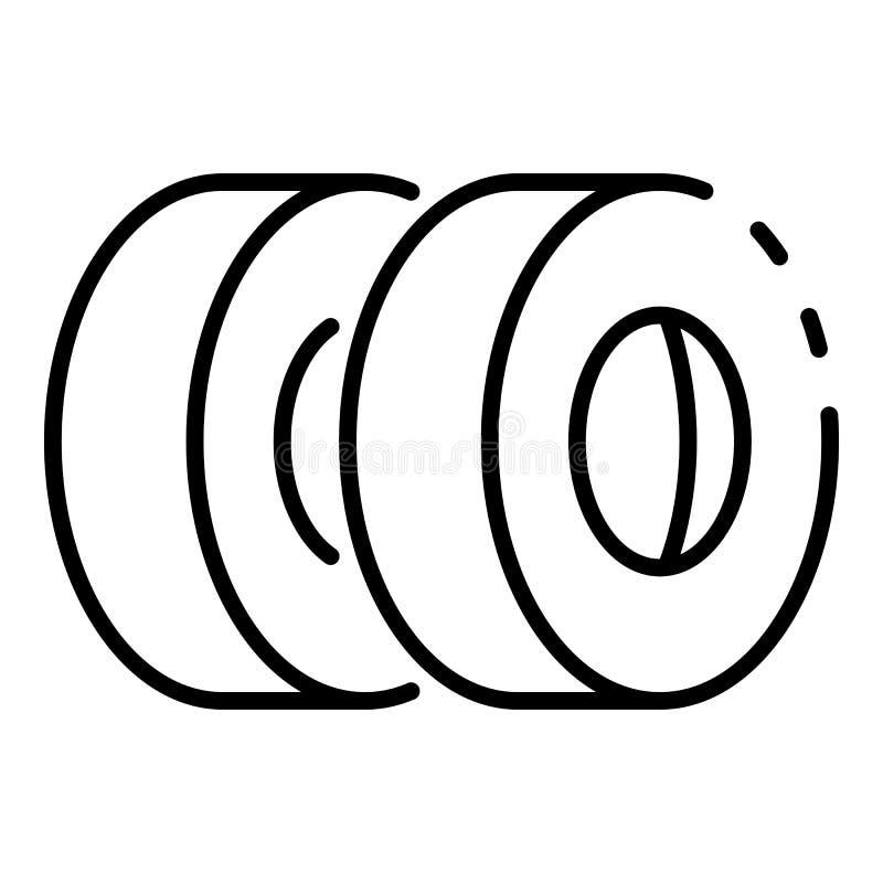 Icono de los neumáticos del coche, estilo del esquema ilustración del vector