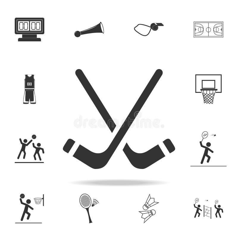 icono de los palillos de hockey Sistema detallado de iconos de los atletas y de los accesorios Diseño gráfico de la calidad super stock de ilustración