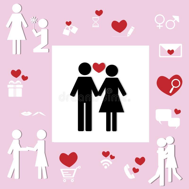 Icono de los pares del amante del concepto de la relación del amor fotografía de archivo