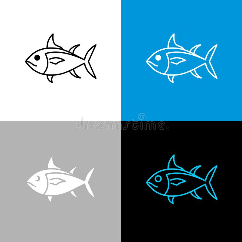 Icono de los pescados de atún Línea símbolo del estilo del atún ilustración del vector