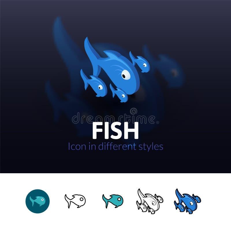 Icono de los pescados en diverso estilo stock de ilustración