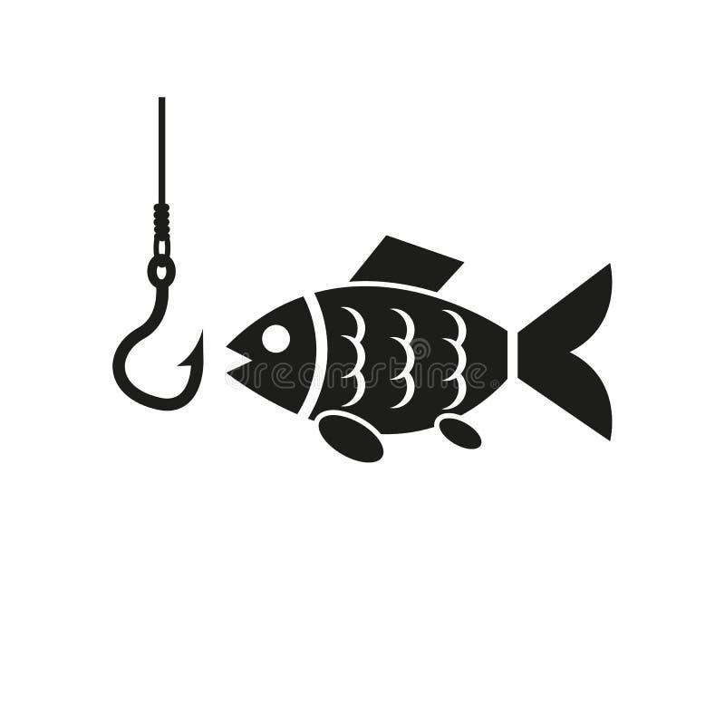 Icono de los pescados Pescando y pescando con caña, símbolo del gancho Dise?o plano Acci?n - ejemplo del vector fotos de archivo