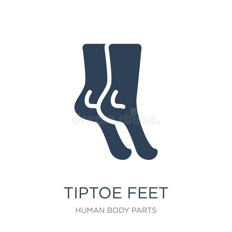 icono de los pies de la punta del pie en estilo de moda del diseño icono de los pies de la punta del pie aislado en el fondo blan libre illustration