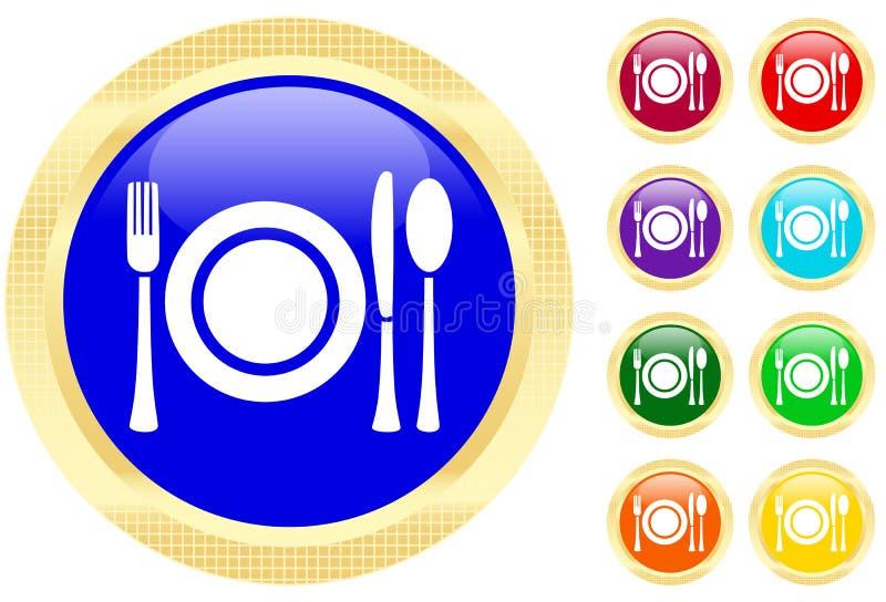 Icono de los platos y cubiertos en los botones ilustración del vector