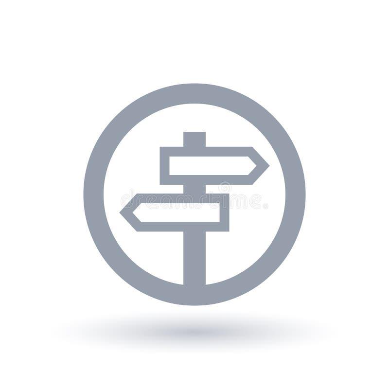 Icono de los posts de muestra del cruce - símbolo de la dirección del viaje ilustración del vector