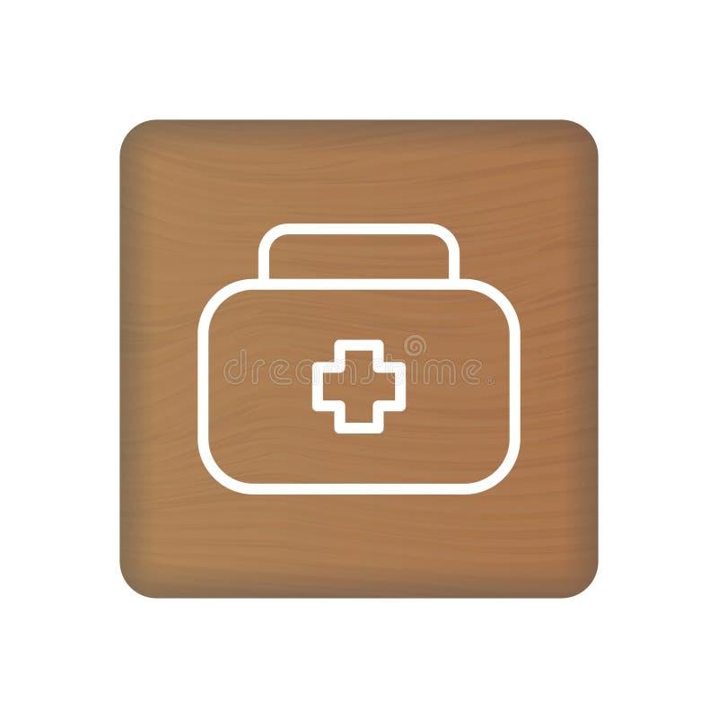 Icono de los primeros auxilios en los bloques de madera aislados en un fondo blanco Ilustración del vector ilustración del vector