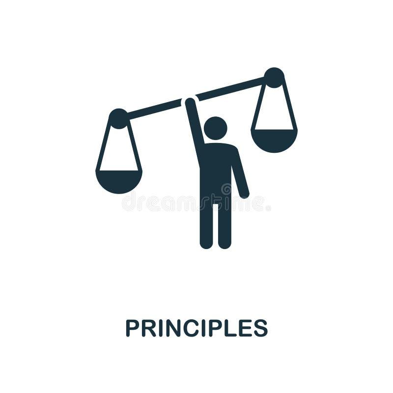 Icono de los principios Diseño monocromático del estilo de la colección del icono de la ética empresarial UI y UX Icono perfecto  libre illustration