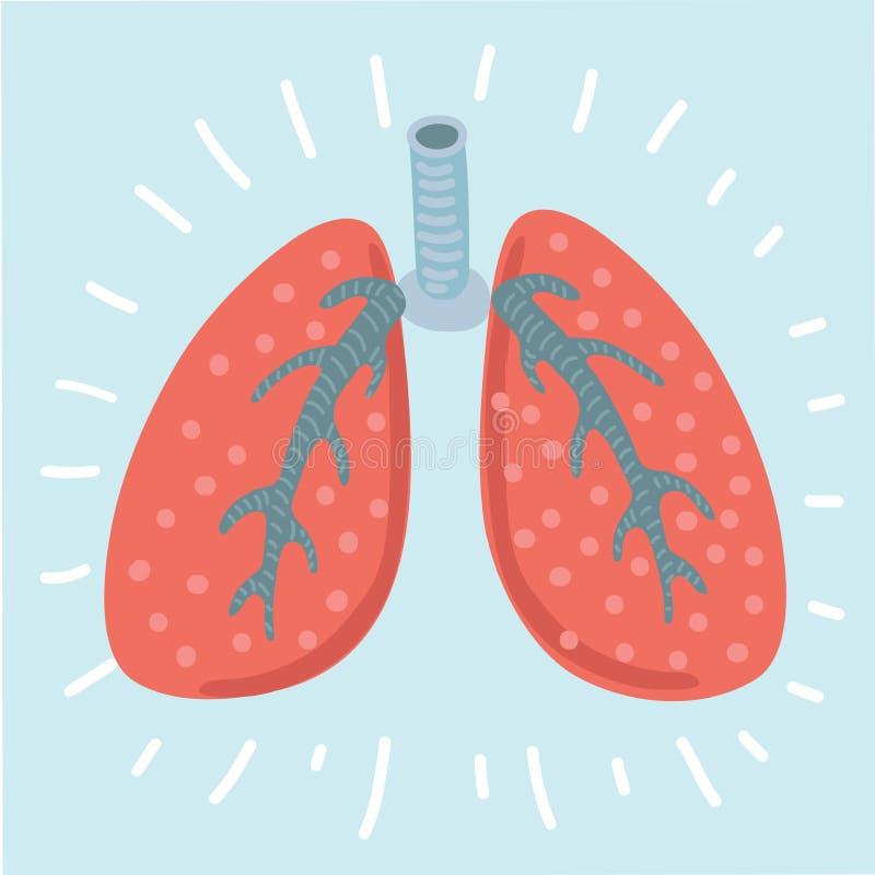 Icono de los pulmones, estilo plano Órganos internos del elemento humano del diseño, logotipo r Atención sanitaria ilustración del vector