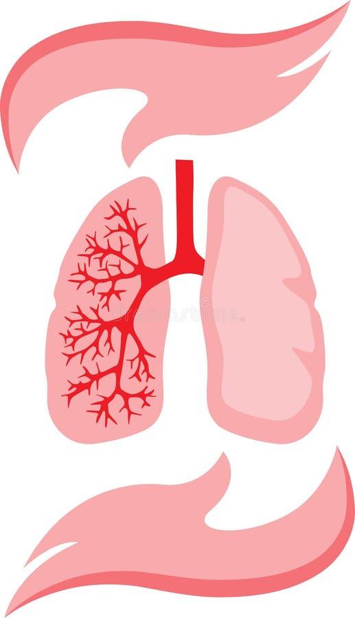 Icono de los pulmones y de las manos stock de ilustración