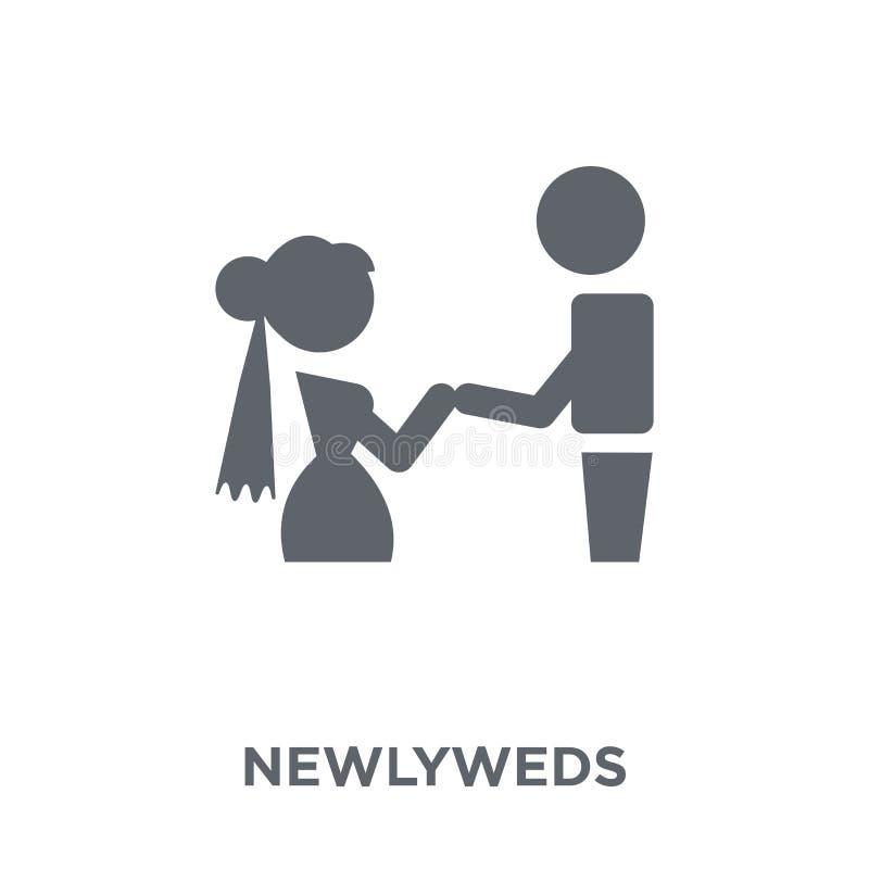 Icono de los recienes casados de la colección de la boda y del amor ilustración del vector