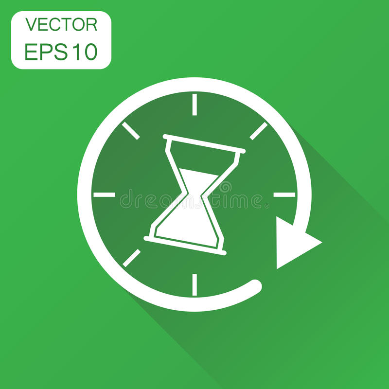 Icono de los sandglass del tiempo Pictograma del reloj de arena del reloj del concepto del negocio stock de ilustración