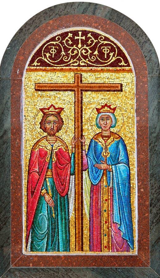 Icono de los santos Constantina y Helen en la iglesia ortodoxa griega en Cana fotos de archivo