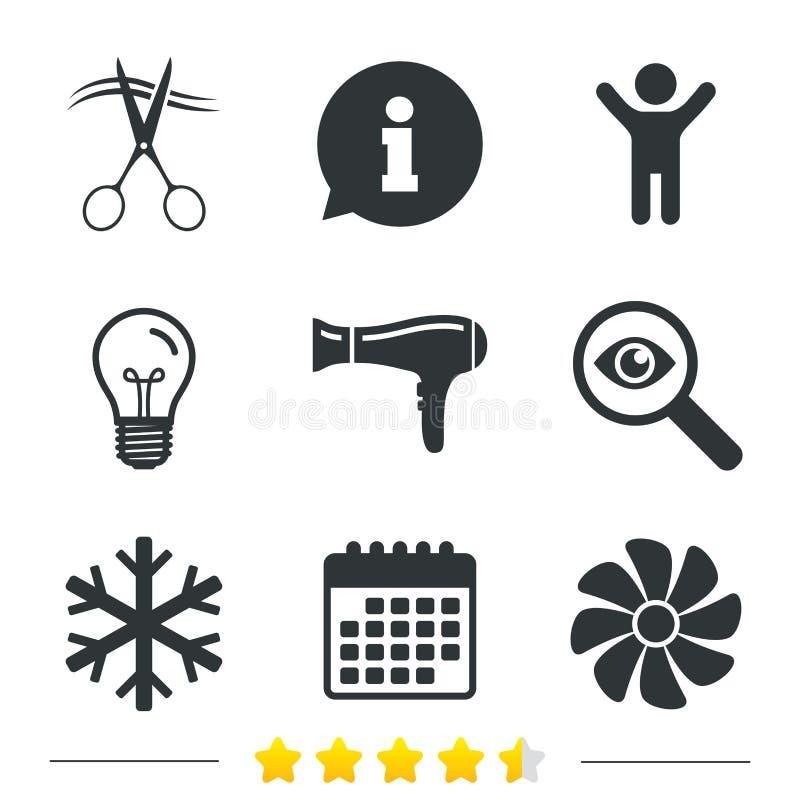 Icono de los servicios de hotel Aire acondicionado, Hairdryer ilustración del vector