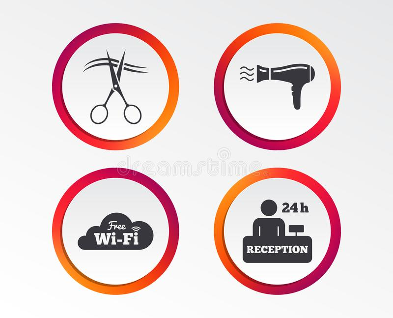 Icono de los servicios de hotel Wi-Fi, Hairdryer libre illustration