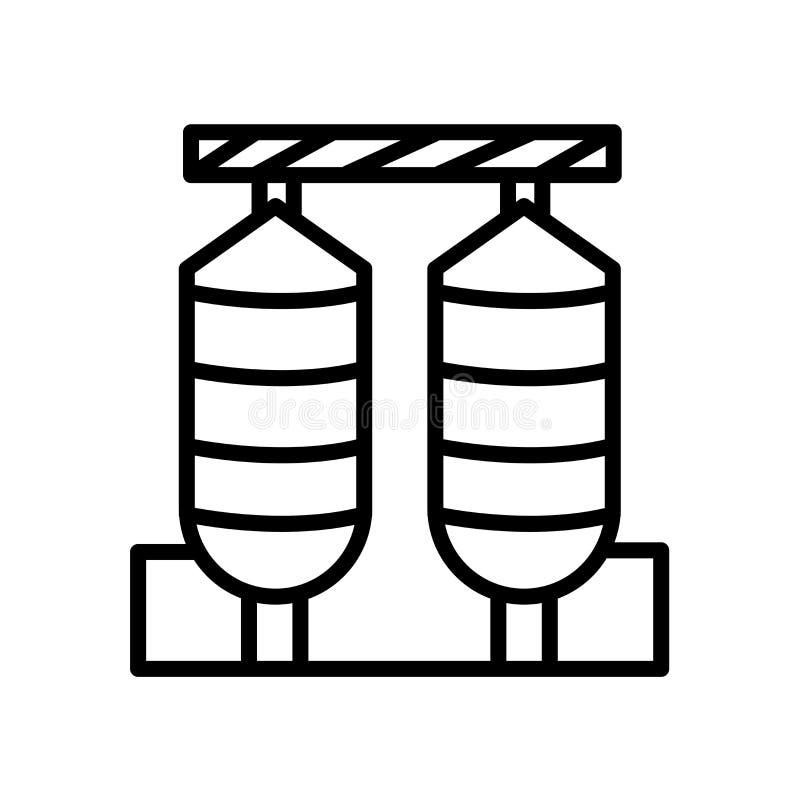 icono de los silos aislado en el fondo blanco stock de ilustración