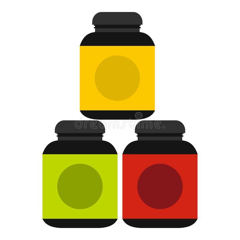 Icono de los suplementos de los deportes, estilo plano stock de ilustración