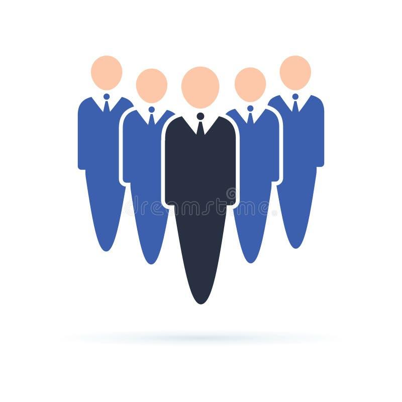 Icono de los trabajadores de la compañía Hombres de negocios que se colocan en fila, teambui ilustración del vector