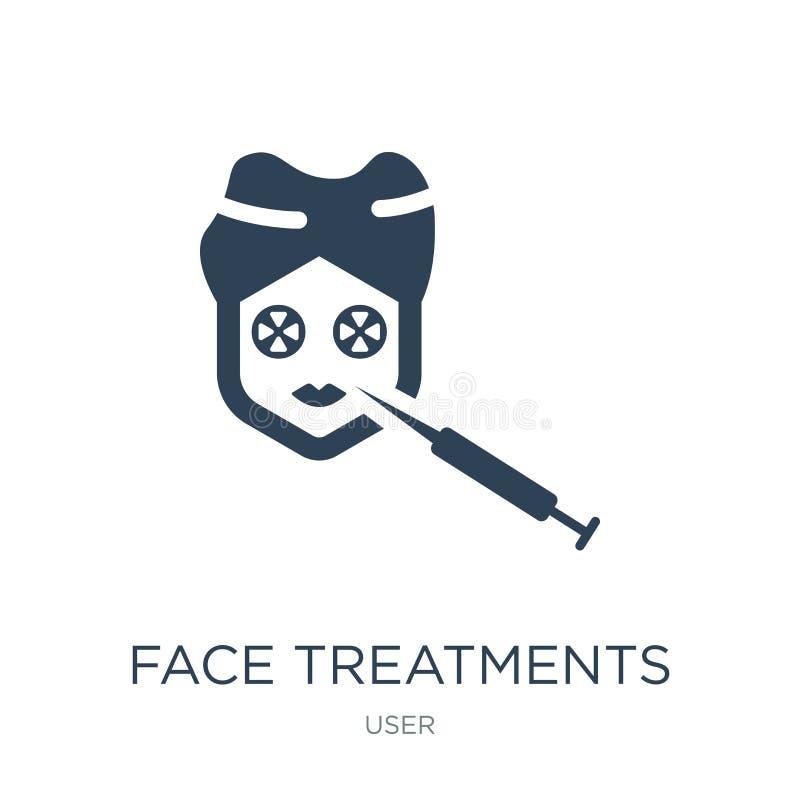 icono de los tratamientos de la cara en estilo de moda del diseño icono de los tratamientos de la cara aislado en el fondo blanco libre illustration