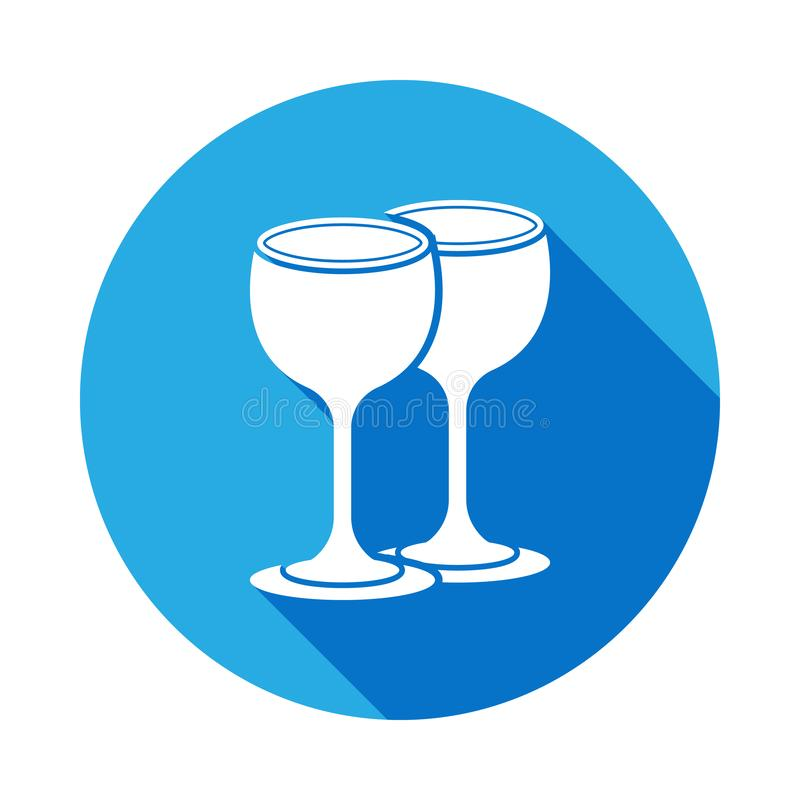 Icono de los vidrios con la sombra larga Elemento del icono del artículos de cocina Diseño gráfico de la calidad superior Muestra ilustración del vector